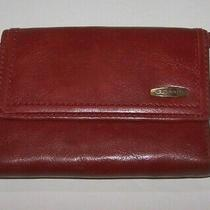 Fossil Burnt Red Genuine Leather Trifold Wallet Coin Purse Photo