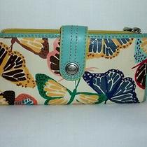 Fossil Butterfly Leather What Vintage Are You Clutch Wallet  Photo