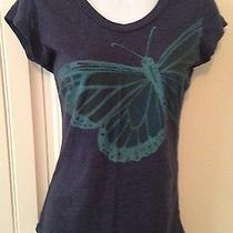 Fossil Butterfly Tee Sz Xs Cap Sleeves Charcoal Grey Understated & Eye-Catching Photo