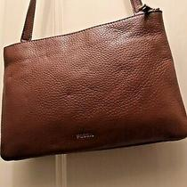Fossil Camel Pebbled Leather Crossbody Small Brown Tan Leather Handbag Purse Photo