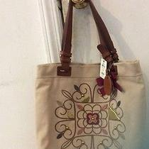 Fossil Canvas Floral Birds and Genuine Leather Wiskey Trim Tote Photo