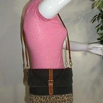 Fossil Canvas Leather Leopard Print Crossbody Shoulder Bag Purse Tote   Photo