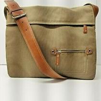Fossil Canvas Messenger Bag Purse Khaki Brown Crossbody Photo