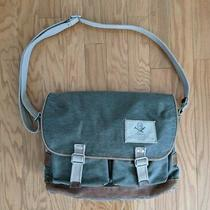 Fossil Canvas Messenger Bag W/leather Trim Crossbody Laptop Khaki Green Photo
