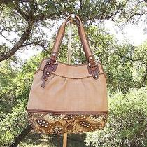 Fossil Canvas Straw Leather Brown Floral Multicolor Hobo Bag Shoulder Purse Photo
