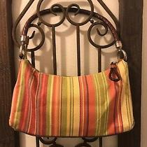 Fossil Canvas Striped Purse Yellow Pink Green Small Leather Handles Photo