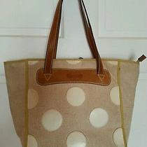 Fossil Canvas Tote Beige Patent Polka Dots Bag Brown Straps Photo