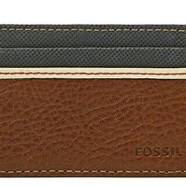 Fossil Card Case Elgin Brown Minimalist Leather Wallet Mens New in Gift Tin Photo