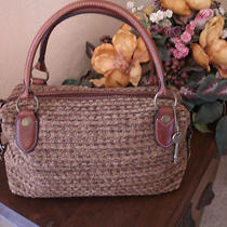 Fossil Carpet Weave Leather Trim Handbag Antique Gold Hardware Brown / Tan Nice Photo
