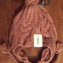 Fossil Cassidy Solid Bomber Knit Hat Dusty Rose Pink/light Tan New With Tags Photo