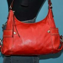 Fossil 'Castille' E/w Red Pebbled Leather Shopper Purse Shoulder Carryall Bag Photo
