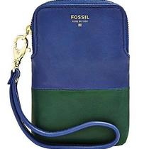 Fossil Cb Carryall Blue Green Leather Iphone 4 5 Phone Galaxy S Iii 4 Nwt Wallet Photo