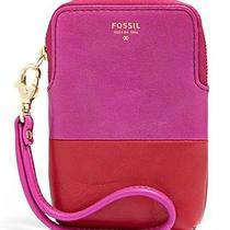 Fossil Cb Carryall Pink & Red Leather Iphone 4 5 Phone Galaxy S Iii 4 Nwt Wallet Photo