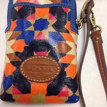 Fossil Cell Phone/money/id in Coated Canvas in Multi-Colored Wristlet. Photo