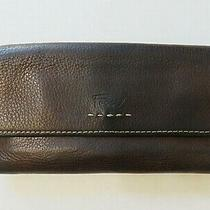 Fossil Checkbook Clutch Wallet Brown Leather  Photo