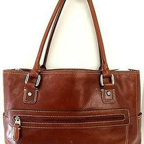 Fossil Chestnut Leather Padded Laptop Office Satchel Photo