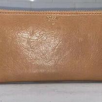 Fossil Chestnut Leather Zip Around Wallet Wristlet Coin Purse Id Card Holder Photo