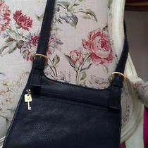 Fossil Classic Black Leather Crossbody Bag Photo