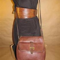 Fossil Classic Brown Leather Boxy Tote Cross Body Shoulder Purse Photo
