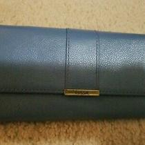 Fossil Clutch Bifold Leather Wallet Full Size Credit Card Coin Blue Leather 8 Photo