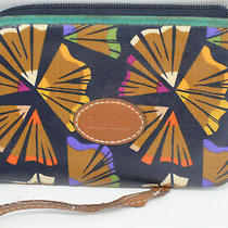 Fossil Clutch Blue Multicolor Small Purse Wristlet Strap Photo