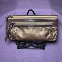 Fossil Clutch Bronze Metallic Leather Bi-Fold Zip Flaw Photo