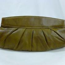 Fossil Clutch Evening Bag Brown Leather Hinged Framed Top Sl9488 Photo