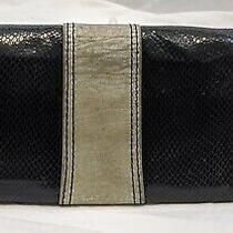 Fossil Clutch Purse Handbag Bag Snake Emboss Black Leather Small Envelope Style Photo