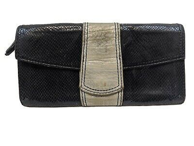 FOSSIL Clutch Purse Handbag Bag SNAKE Emboss Black Leather Small ENVELOPE STYLE Photo