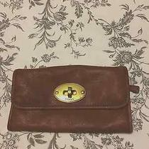 Fossil Clutch Wallet Brown Leather With Removable Shoulder Strap Photo