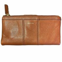 Fossil Clutch Wallet Tan Brown Zippers  Photo