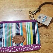 Fossil Coated Canvas Multi Stripe Wt Doves Wristlet Sl4117 Photo