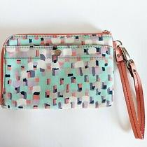Fossil Coated Canvas Pink Leather Trim Wallet Clutch Wristlet Zipper Multicolor Photo