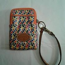 Fossil Coated Cell Phone Wristlet Multi-Color  Orange Trim Leather Strap Photo