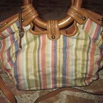 Fossil Colorful Striped Canvas Tan Leather Trim Wood Handle Satchel Bag Purse Photo