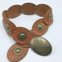 Fossil Concho Belt Brown Leather Wide Studs Boho Cowgirl Western Sz Medium 28 Photo