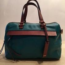 Fossil Convertible Satchel Teal and Brown Leather  Photo