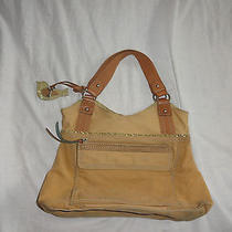 Fossil Corduroy Canvas Cotton Leather Trim Tote Bag  Fob Key Bird Charm Photo