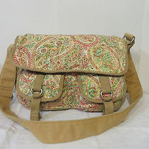 Fossil Corduroy Floral Red Pink Greens Shoulder Tote Computer Bag Purse Euc  Photo