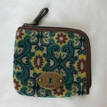 Fossil Corner Zip Fabric & Leather Wallet Velvet Teal Red Yellow Ivory Photo