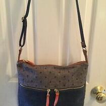 Fossil Cotton Canvas Hobo Crossbody Bag Purse Blue Denim Polka Dot 13x10 Vguc Photo