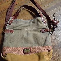 Fossil Cotton Canvas Leather Crossbody Purse Bag Photo