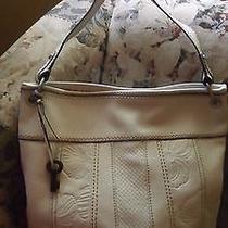 Fossil Cream/beige Leather Hobo/shoulder Handbag Photo