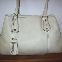 Fossil Cream Colored Satchel Style Handbag With Key  Photo