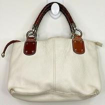Fossil Cream Leather Satchel Handbag Purse Tote Shoulder Bag Braided Handles Photo
