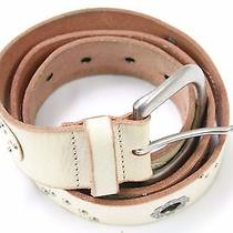 Fossil Cream Silver Painted Leather Womens Belt Size 41 Photo