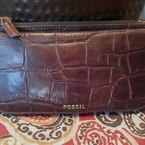 Fossil Croc Embossed Brown Leather Large Clutch Wallet Super Nice 99 Nr Photo
