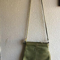 Fossil Cross Body Messenger Crossbody Bag Purse Olive Green Leather Pre-Owned Photo