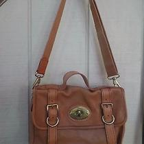 Fossil Crossbody Bag Cognac Brown Leather Purse Briefcase Brass Hardware Euc Photo