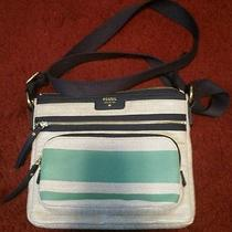 Fossil Crossbody Bag Knit Tan Teal and Navy Photo